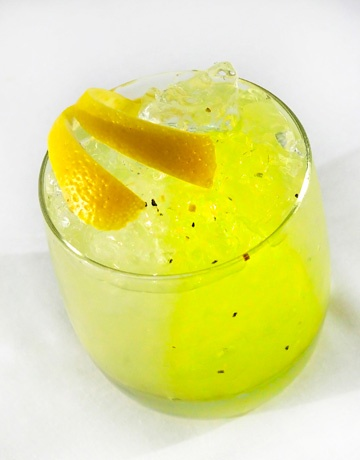 G'vine Frost Bite  1.5 oz. G'vine Gin  1 coffee spoon of lemon pepper zest  1.5 oz. Averna limoncello    Mix ingredients together with ice.