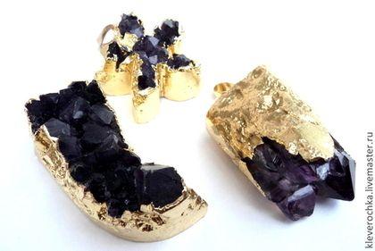 Подвеска кулон аметист в золотой оправе камни для украшений