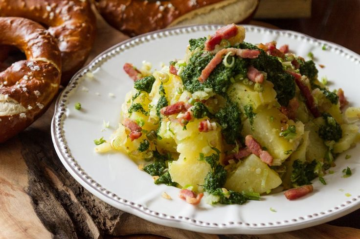 Green Potato Salad.  Wash and scrub potatoes well, under running water, using a scrub brush. Boil them in a pot with salted water, until they are soft and you can prick them with a fork. 	Remove...