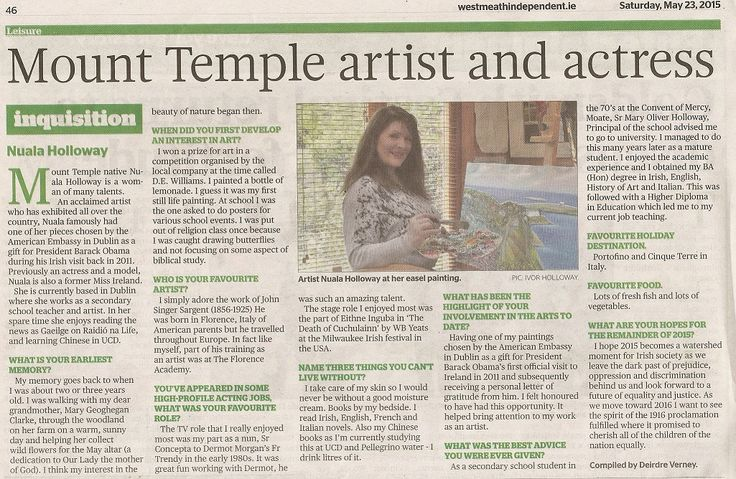 """FROM THE ARCHIVES: Local media coverage in the Westmeath Independent on 23 May 2015. """"Inquisition"""" with Nuala Holloway (Compiled by Deirdre Verney). An interview about Nuala's life and career as a teacher, model, actress and artist."""