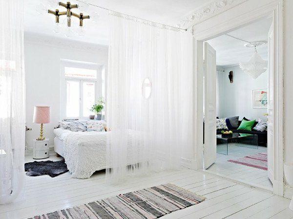 Mer enn 25 bra ideer om Raumteiler weiß på Pinterest - gardinen für schlafzimmer