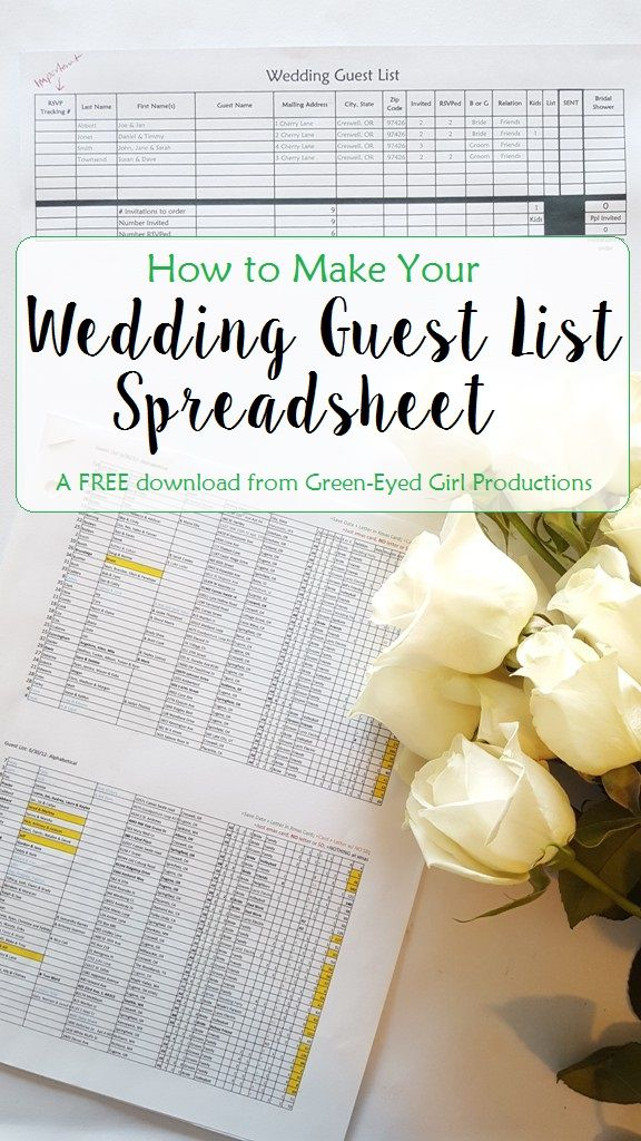 How to Make Your Wedding Guest List Excel Spreadsheet. Free Download and Tutorial from Green-Eyed Girl Productions, Wedding Coordinating