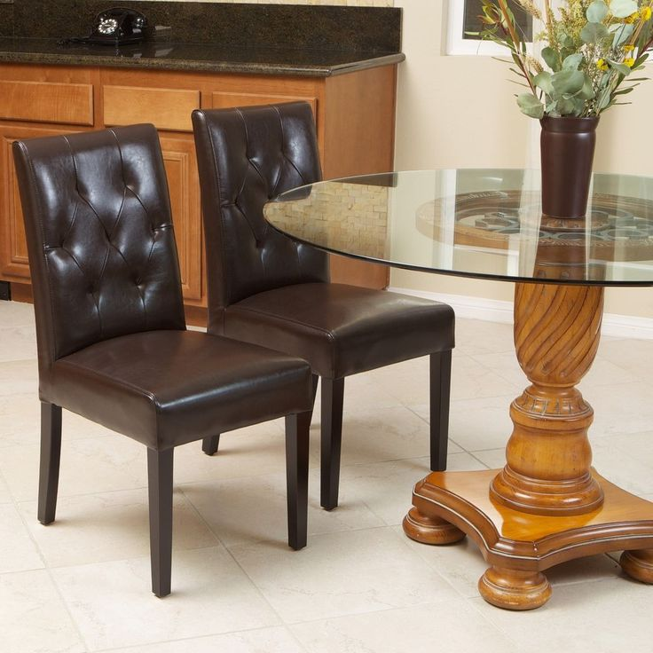 Set of 2 Elegant Brown Leather Dining Room Chairs With Tufted Backrest…