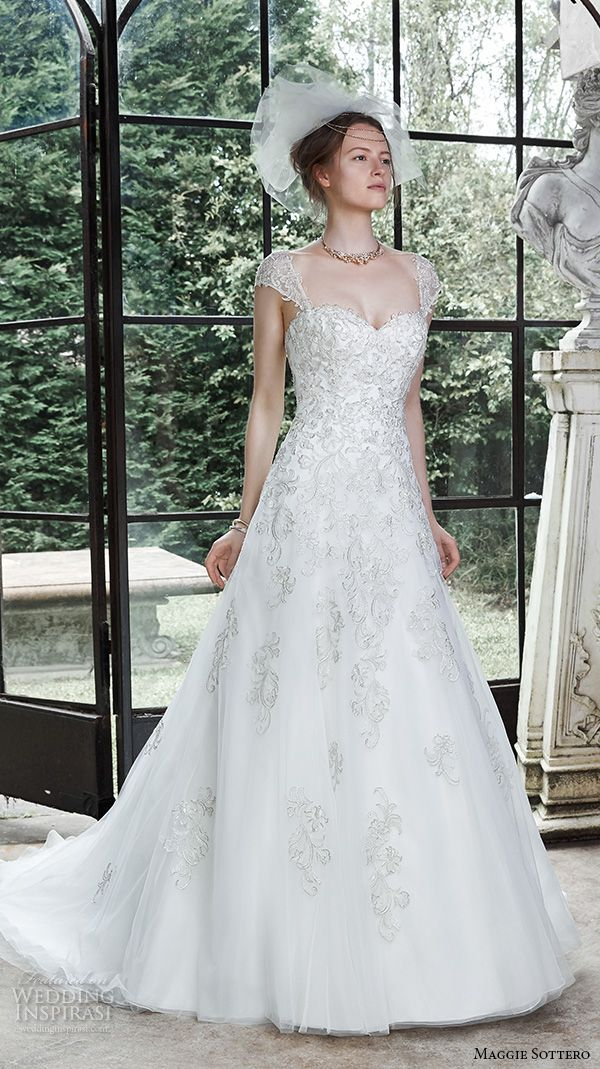 maggie sottero fall 2015 wedding dresses beautiful a line gown cap sleeves sweetheart neckline lace embroidery regina