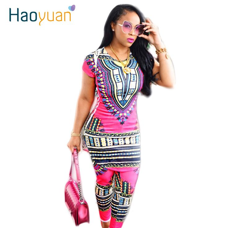 2017 Pakaian Tradisional Afrika Dashiki Dua Piece Set Wanita Africaine Cetak Bodycon Dress + Celana Pakaian African Produsen
