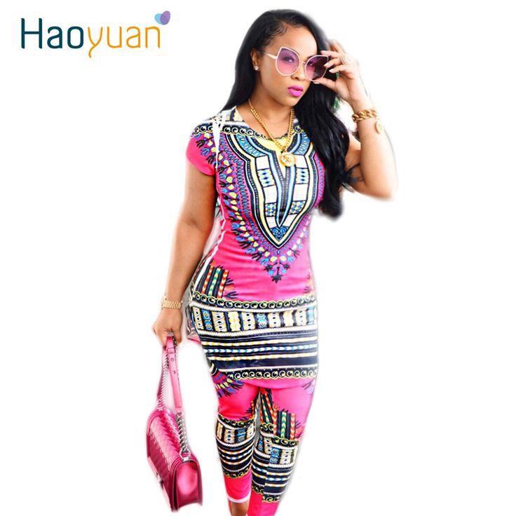 2017 Dashiki Traditionelle Afrikanische Kleidung Zweiteiliger Satz Frauen Africaine Drucken, Figurbetontes Kleid + Hosen Afrikanische Kleidung Hersteller