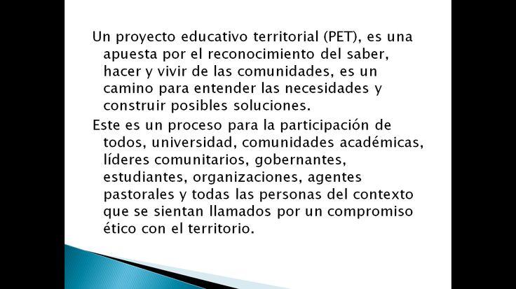 Un proyecto educativo territorial...