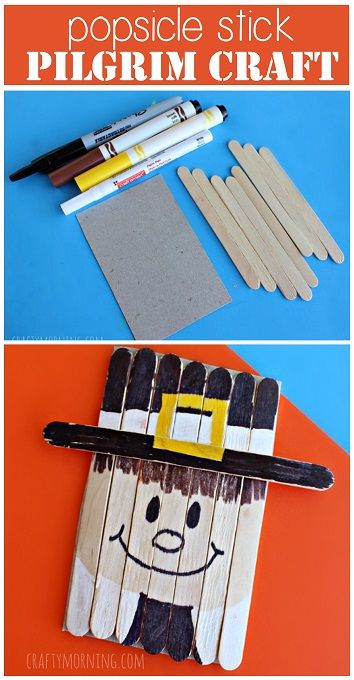 Popsicle Stick Pilgrim Boy Craft #Thanksgiving craft for kids to make | CraftyMorning.com