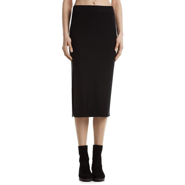 Atm Anthony Thomas Melillo Ribbed Knit Tube Skirt (795 MYR) ❤ liked on Polyvore featuring skirts, black, pencil skirt, midi skirt, tube skirt, knee length pencil skirt and tube pencil skirt