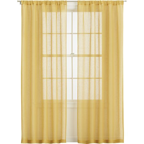 mustard sheer curtain panels in curtains crate and barrel