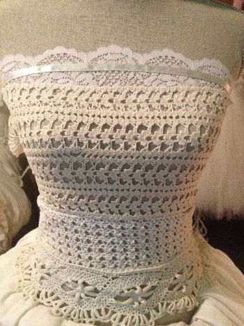 Trendy scoured flea markets and thrift stores for unique crochet pieces that I could sew together for our Bohemian wedding dress