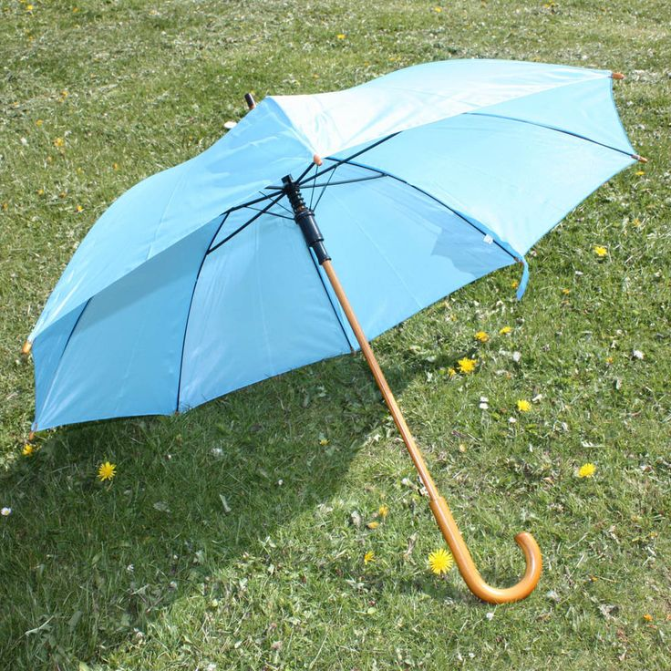 Light Blue Umbrella Wedding / Christening / Function Rain Parasol with Wooden Crook Handle and Automatic Opening / Bridesmaids by eBuyGB on Etsy
