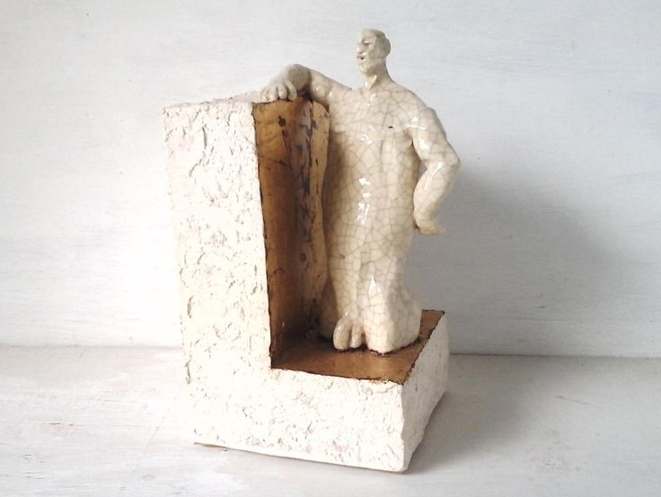 Male statue, 3d ceramic nude art figurine, naked ceramic sculpture, antique white crackle glaze, bookend art lover gay gift by LouiseFultonStudio on Etsy