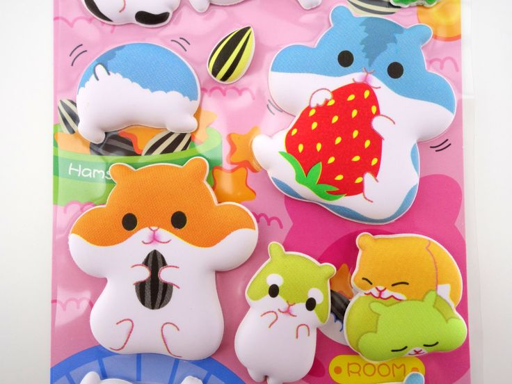 SUPER PUFFY Japanese hamster 3D stickers kawaii by 2FooDogs