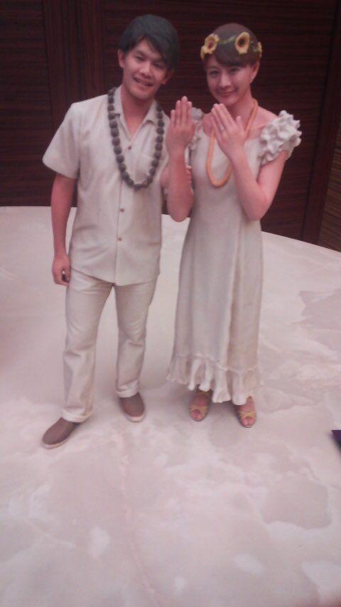小塚崇彦さんと大島由香里アナの披露宴会場入口に飾られていた3Dプリンタで作ったとおぼしきフィギュア
