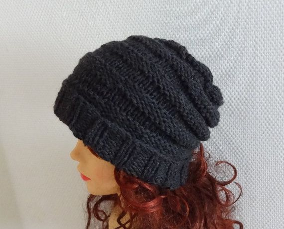 knit hat slouchy beanie men spirals  Hand Knit Hat by Ifonka