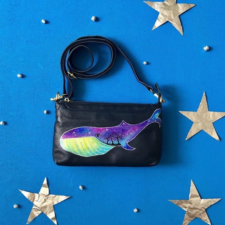 """Hand painted leather bag with """"Cosmo Whale 🐳 """" is a good idea of a gift 🙌🏼 ✅ genuine leather ✅ hand painted, not a print ✅ shipping worldwide"""