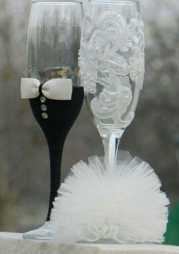Dressed up champagne flutes