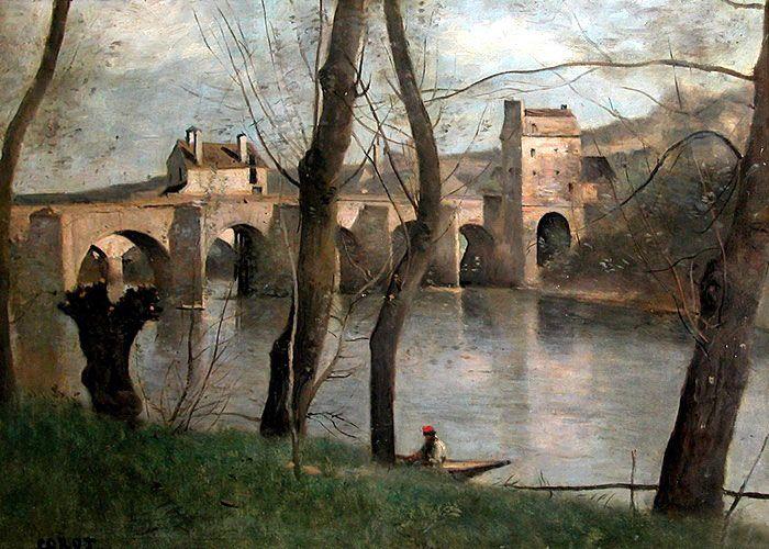 """""""The Bridge at Nantes"""", 1868-1870 by Jean Baptiste Camille Corot (Musée du Louvre, Paris, France) - Barbizon School/Realism"""