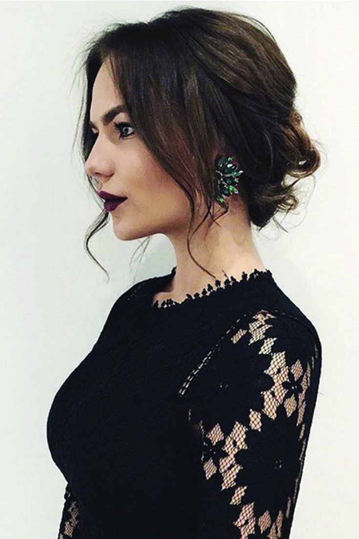 Elegant romantic updo with dark brown Luxy hair extensions on the beautiful