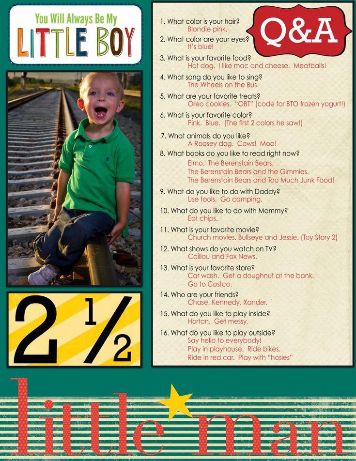 Interview your kids!  Fun way to record memories! #kids #interview #scrapbook