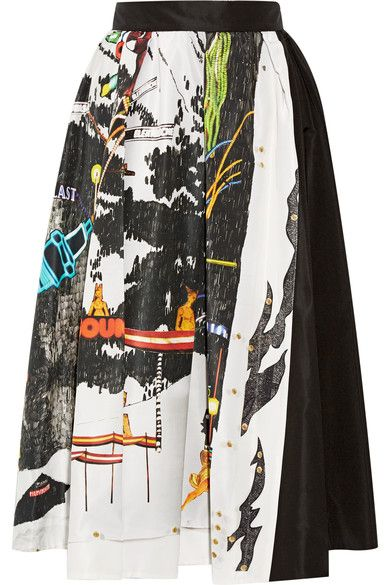 Prada   Printed silk-faille midi skirt   NET-A-PORTER.COM