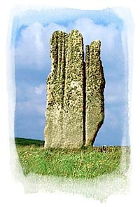 The Setter Stone - Eday, Orkney, Scotland; Seven feet wide at the base and, at over 15 feet high, it is one of the tallest megaliths in Orkney. Centuries of weathering has given the sandstone monolith a distinctive profile. Tapering from the top, heavy erosion gives the monolith the appearance of a giant stone hand.