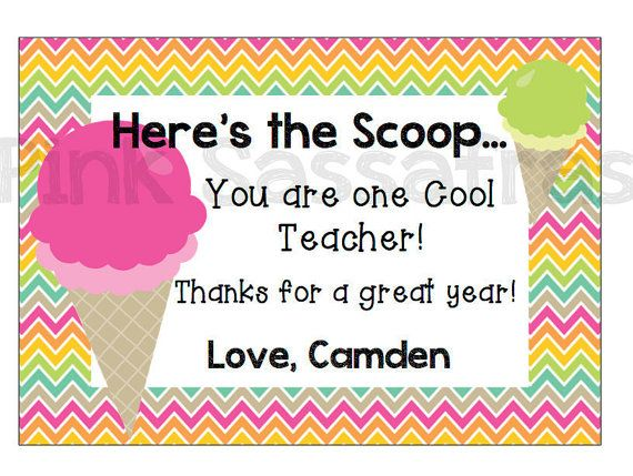 Here's the Scoop Teacher Gift Tags