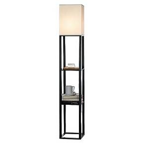 Shane!!! I've seen these in someone's house before and was obsessed with them!!!!! This would be perfect for having limited space but wanting lamps and some place to put stuff!!!!! I love love love them what do you think?!?    Shelf Floor Lamp with Ivory Shade Brown - Threshold™ : Target