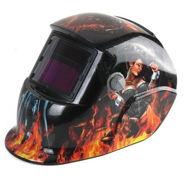 Revolver Girl Solar Auto Darkening Welding Grinding Arc Tig Mig Helmet Mask. Description :   Revolver Girl Solar Auto Darkening Welding Grinding  Arc Tig Mig Helmet Mask  Advanced circuit design, it works the moment you start work. When the arc is striked, the observing window darkens immediately. This welding helmet is suitable for all types of the electro-welding : arc welding, gas shielded welding, etc. except laser welding.  Features :   High strong materials and fire retardant…