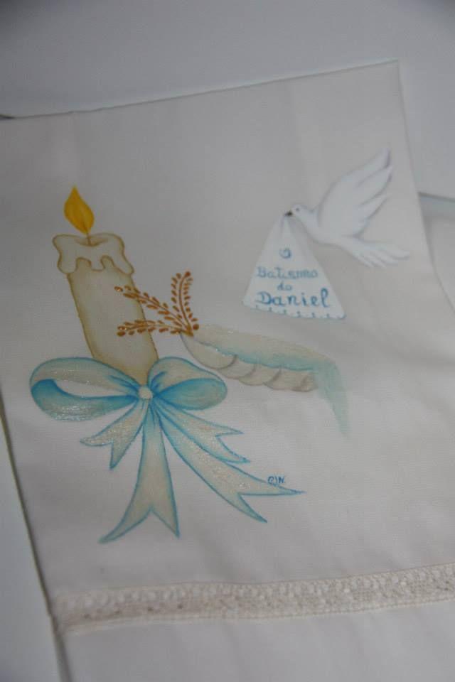 Toalha De Batismo Pintura Em Tecido Pinterest