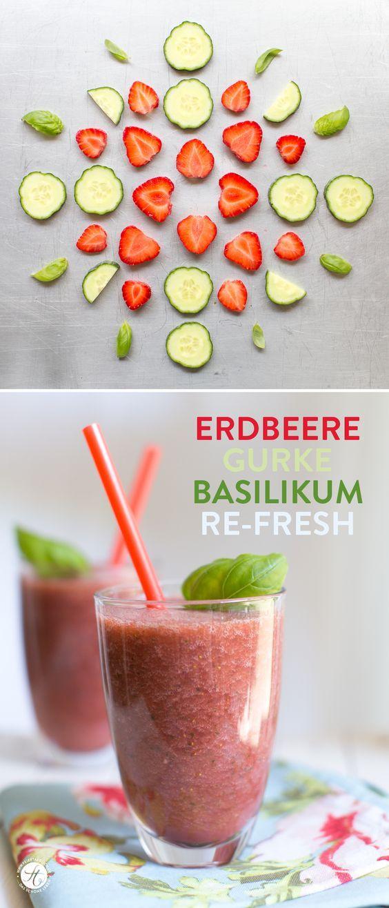 Erdbeere-Gurke-Basilikum Smoothie: Re-fresh | zum #SmoothieMontag bei feiertaeglich.de