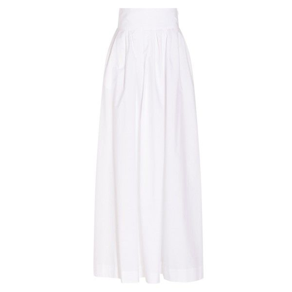 Rosie Assoulin Morning After Maxi Skirt (30.941.190 VND) ❤ liked on Polyvore featuring skirts, ankle length white skirt, long white skirt, white pleated skirt, zipper skirt and pleated maxi skirt