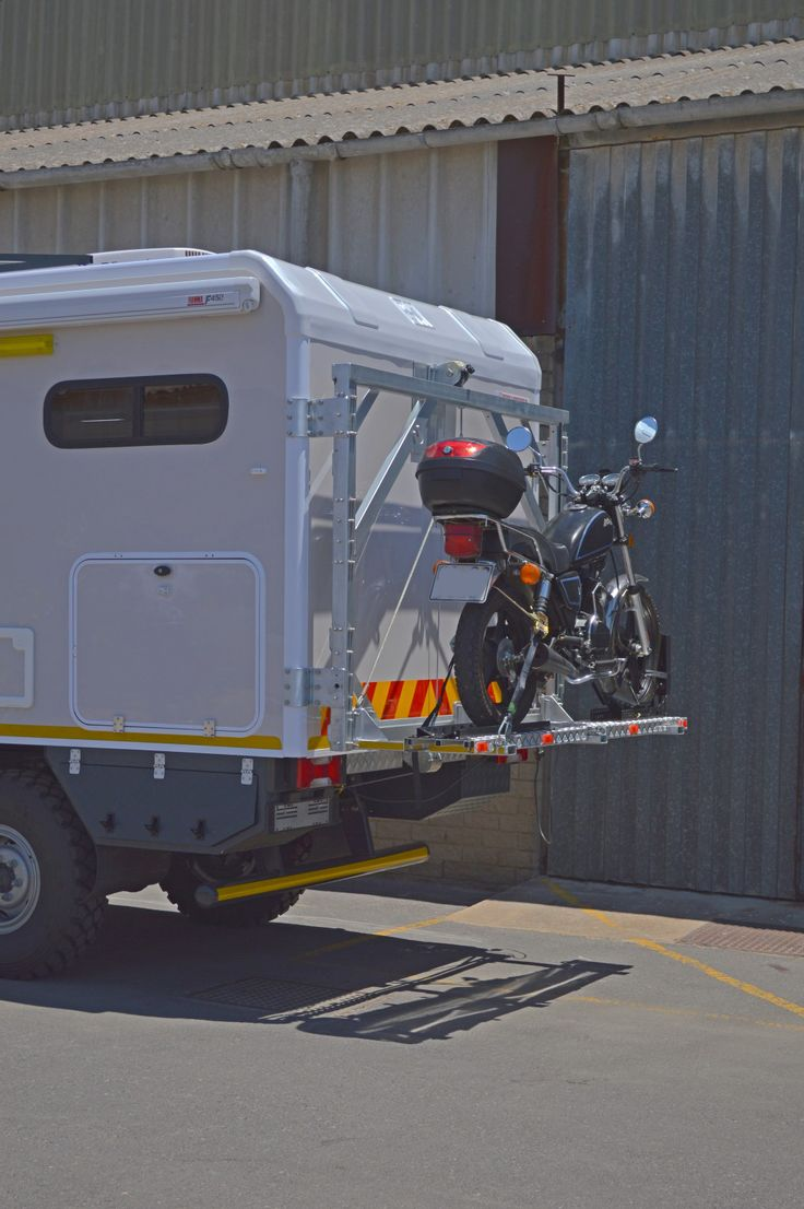 Motorbike carrier on the rear of Discoverer Xtreme