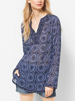 Printed Georgette Tunic  by Michael Kors