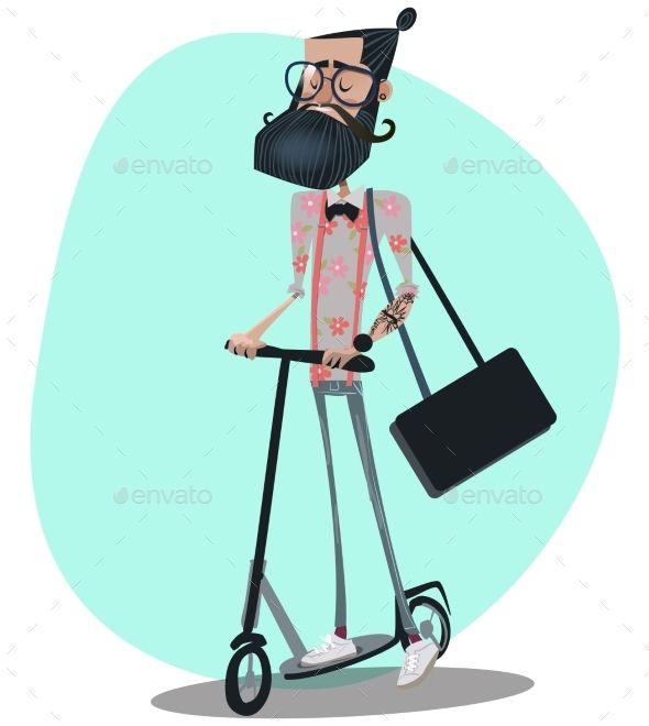 Hipster Man Rides a Kick Scooter - People Characters                                                                                                                                                                                 Más