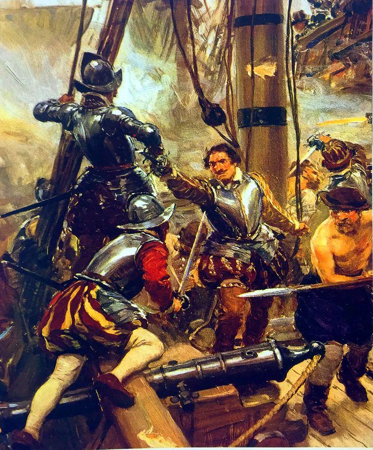 Francis Drake boarding a Spanish galleon