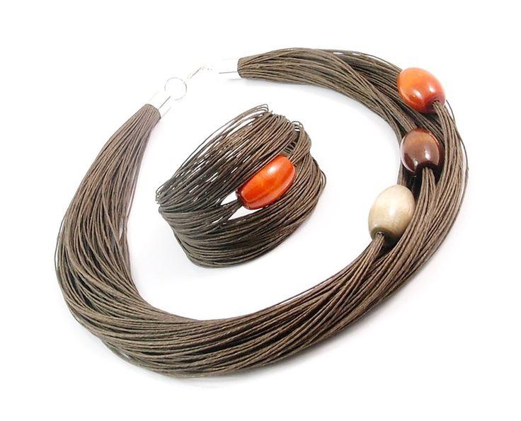 Collares - linen necklace, wood - hecho a mano por -Nor-Art- en DaWanda