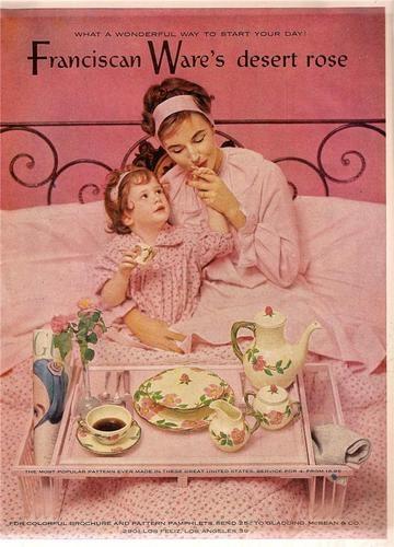 Vintage 1953 Color Magazine ad Franciscan Desert Rose Mother and Daughter