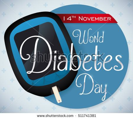 Poster with glucometer and reminder date message for World Diabetes Day in November 14 over a cross pattern background.
