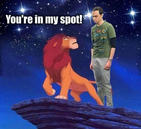 That's my spot, Simba… (the big bang theory, sheldon)