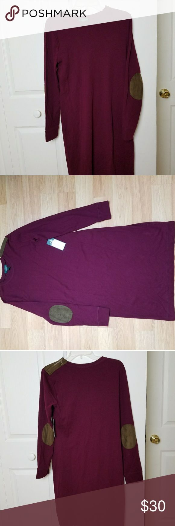 NWT Ralph Laurn Jeans Co Maroon Dress Large Has elbow pads and a shoulder zip detail.  Short Dress Size Large  Measurements laying flat without stretch in inches:  Pit to pit 18.5 Midsection width 17 Bottom width 20.5 Collar seam to shoulder seam 4.5 Shoulder seam to end of sleeve 23.5 Length 37.5  Please feel free to email any questions that you may have. Ralph Lauren Dresses Long Sleeve