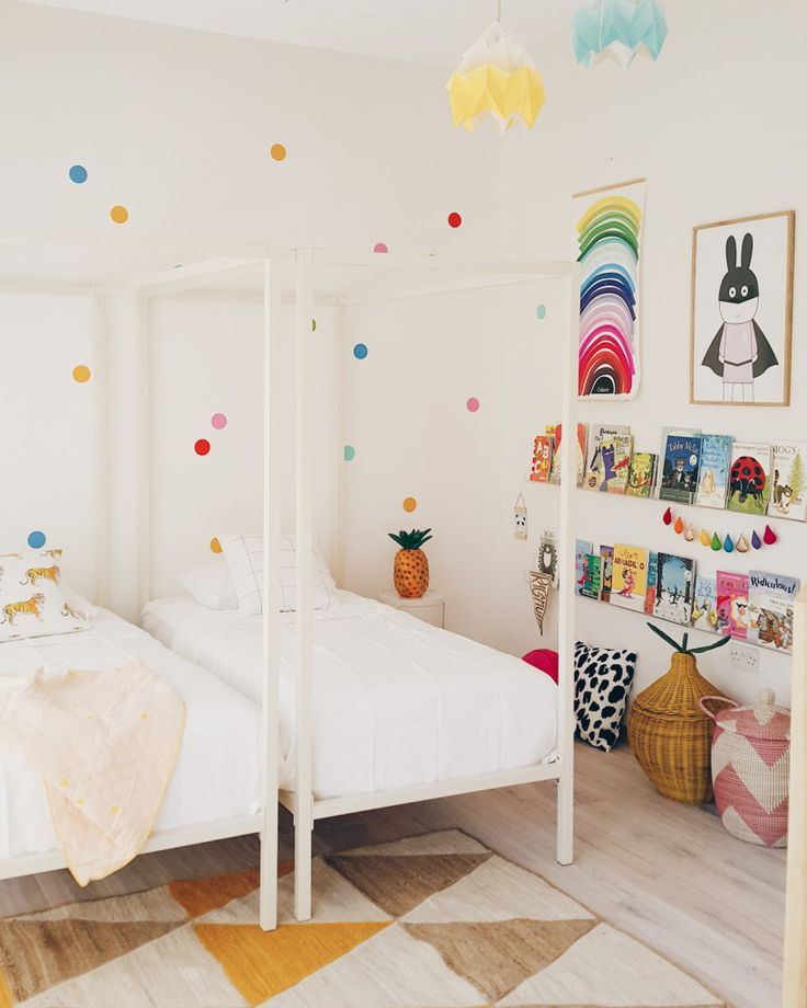 live loud girl interior styling lifestyle and so much more shared kids roomsshared bedroomsconfetti wallrainbow decorationspolka - Kids Room Decor