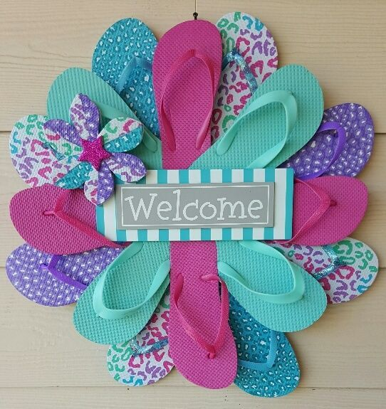 Beautiful Unique Handmade Flip Flop Wreath Beach Door Wall Pastel Welcome | eBay