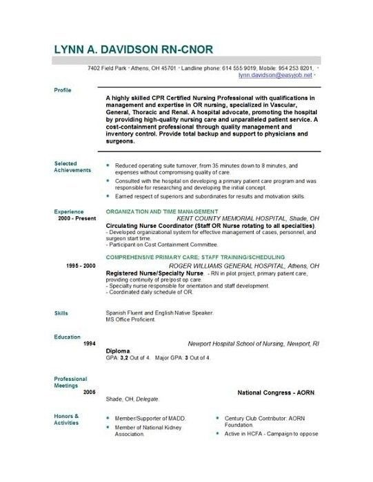73 New Stock Of Experienced Registered Nurse Resume Examples