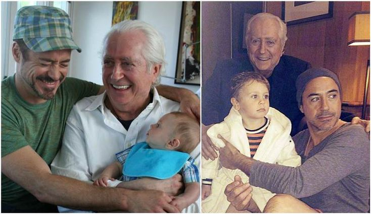 Robert Downey Jr. son Exton with his grandfather Robert Downey Sr.