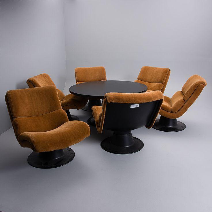"""YRJÖ KUKKAPURO, 6 nojatuolia ja pöytä, """"Saturnus"""", Haimi 1970-luku."""
