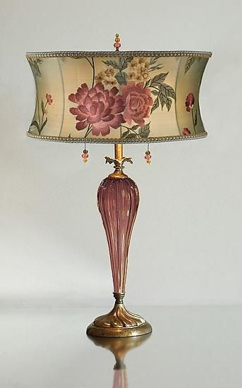 """""""Rose Lamp""""  Mixed-Media Table Lamp  700.00  Created by Caryn Kinzig and Susan Kinzig"""