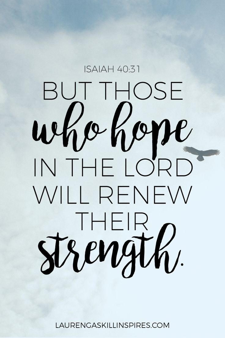Those who HOPE in the Lord will renew their strength