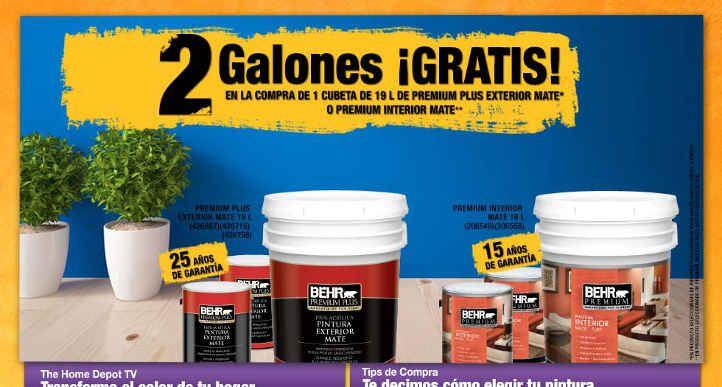 Home Depot: 2 galones GRATIS Pintura Home Depot cuenta con 2 muy buenas promociones al comprar pintura: > 2 galones de pintura GRATIS en la compra de 1 cubeta de 19 litros de Premium Exterior Mate o Premium Interior Mate > 1 galón de pintura GRATIS en la compra de 1 cubeta de 19 litros de ... -> http://www.cuponofertas.com.mx/oferta/home-depot-2-galones-gratis-pintura/